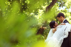 Bride and groom dancing in the park Stock Images