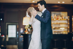 First dance hd. Bride and groom dancing at the restaurant first dance Stock Photo