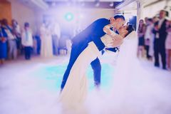 First wedding dance. Bride and groom dancing in the restaurant their first dance Stock Image