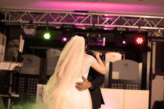 Bride and groom dancing waltz Royalty Free Stock Photos