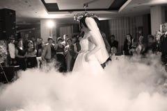 Bride and groom dancing waltz Royalty Free Stock Photo