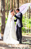 Bride and groom dancing, wedding ceremony outdoors royalty free stock photography