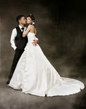 Bride and groom at dark background. Wedding couple Stock Photos