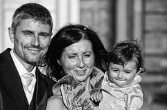 Bride, Groom and Daughter at the Wedding Royalty Free Stock Image