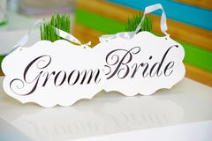 Bride and groom decoration boards Royalty Free Stock Photo