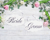 Bride and groom decoration boards with floral frame Royalty Free Stock Photography