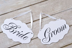 Bride and groom decoration boards Royalty Free Stock Image
