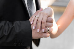 Bride and groom - detail, selective focus Royalty Free Stock Photography