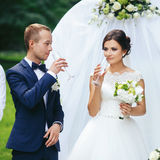 Bride and groom drink champagne standing behind a wedding altar.  Stock Photo