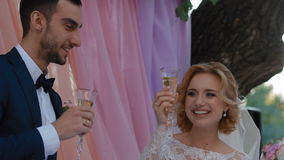 Bride and groom drink champagne stock video footage
