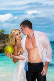 Bride and groom drink coconut water on a tropical beach Stock Image