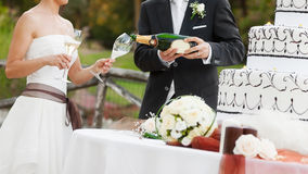 Bride and groom drink Royalty Free Stock Image