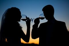 Bride and groom drink wine at sunset Royalty Free Stock Image
