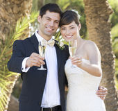A bride and groom drinking champagne Stock Photos
