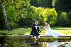 Bride and groom drinking champagne Stock Images