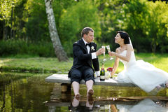 Bride and groom drinking champagne Royalty Free Stock Image