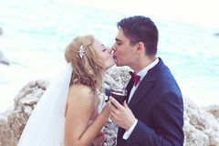 Bride and groom drinking red wine at the ocean Stock Images