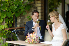 Bride and groom drinking wine Royalty Free Stock Image