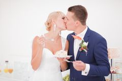 The bride and groom eat the cake royalty free stock image