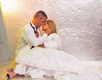 Bride and groom embrace Royalty Free Stock Image