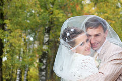 Bride and groom embrace in autumn forest Stock Image