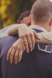 Bride and groom. Embrace. Stock Image