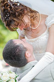 Bride and groom embracing Royalty Free Stock Image