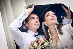 Bride and groom embracing Royalty Free Stock Images
