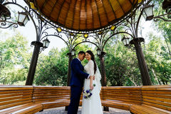 Bride and groom embracing in the arbour. Wedding couple in love at wedding day. In the park Royalty Free Stock Photos