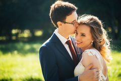 Bride and groom embracing on nature background stock photos