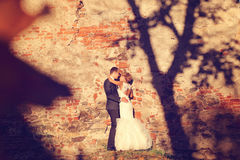 Bride and groom embracing near bricked wall Stock Photo