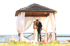 Bride and groom embracing in a tropical resort Stock Photo