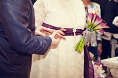 The bride and groom exchange rings.  Royalty Free Stock Images