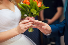 The bride and groom exchange rings at wedding ceremony Stock Photography