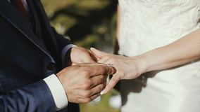 The groom puts the wedding ring on finger of the bride. marriage. hands with rings. The bride and groom exchange wedding stock video footage