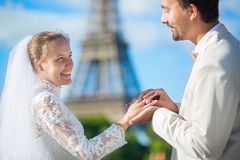 Bride and groom exchanging rings Royalty Free Stock Photo