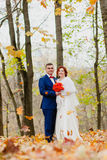 The bride and groom and falling autumn leaves Stock Image