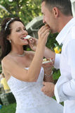 Bride and groom feeding cake upclose. Shot of a bride and groom feeding cake upclose stock image