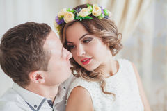 Bride Groom feeling Royalty Free Stock Photography