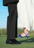 Bride and groom feet Royalty Free Stock Images