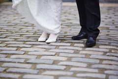 Bride and groom feet Royalty Free Stock Photography