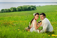 Bride and Groom in the field of dandelion. Wedding couple whith a glass smiling on a grass Stock Photos