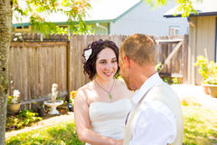 Bride and Groom First Look Moment Royalty Free Stock Photography