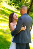Bride and Groom First Look Moment Royalty Free Stock Images