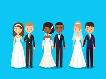 Bride and groom flat characters. Vector illustration. Royalty Free Stock Images