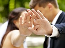 Bride and groom with flower outdoor. Stock Image