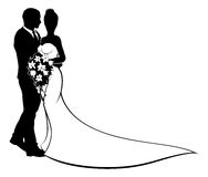 Bride and Groom Flowers Wedding Silhouette. A bride and groom silhouette, in a bridal dress gown holding a floral wedding bouquet of flowers Stock Photography