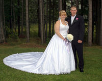 Bride and Groom Formal Portrait. This is a portrait of a bride and groom in a country setting Royalty Free Stock Image