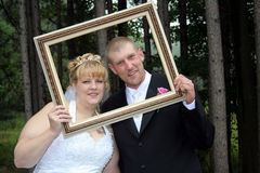 Bride and Groom Formal Portrait in Frame stock photography