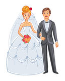 Bride and groom. Front view. Posing together. Funny cartoon character. Vector illustration.  on white background Stock Images